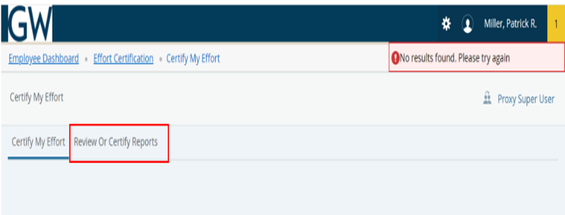 Review or Certify Reports Page screenshot