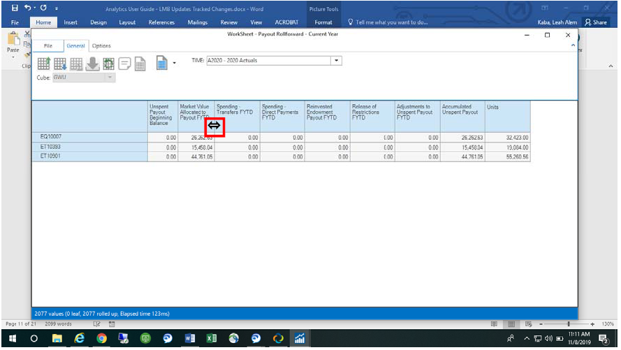 Screenshot showing how to expand columns on worksheet