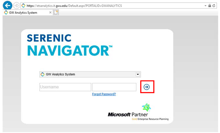 Serenic Navigator homepage screenshot with enter button highlighted