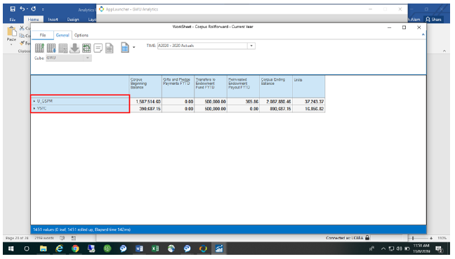 Screenshot showing Grouper assignments on selected Worksheet