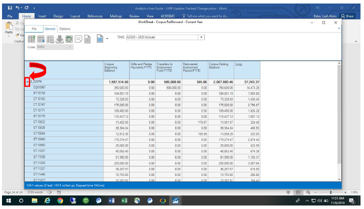 Screenshot showing expansion of Grouper name to see underlying endowment funds